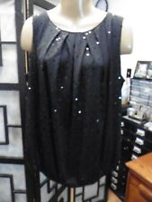Dressbarn Womens Size L 14/16 Black Sequin Sleeveless Top