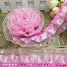 5 yds 3-layer Pink Satin Organza Lace Gathered Pleated Trim Sequin #720