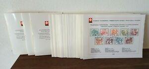 88x Swiss PTT international stamp cards 1965-79 Schweiz Sammlung Blätter Karten