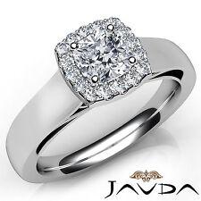 Cushion Diamond Halo Pave Set Engagement Ring GIA E VS1 18k White Gold 0.92Ct