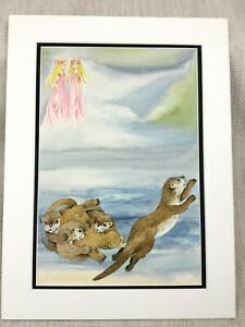 Original Watercolour Painting Otters Otter Pups Children's Book Illustration Art