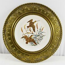 More details for brass framed alfred meakin bird design china wall plate