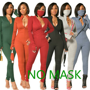 NEW Stylish Women Long Sleeves Zipper Solid Color Bodycon Long Jumpsuit Casual