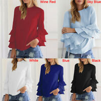 Women's Blouses Shirts Elegant O-Neck Flounce Long Sleeve Solid Casual Loose Top