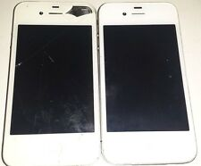 Lot of 2 Apple iPhone 4 8GB White Verizon For Parts Only No POWER