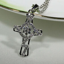 18K White Gold Filled Women Fashion Jewelry Necklace Unique Cross Pendant P3226