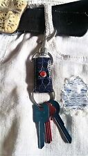 Genuine Blue Alligator skin unisex Keyring Key Fob key ring for belt USA concho