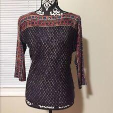 Ralph Lauren three-quarter-sleeve mixed-print top, Nwt, S