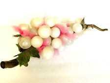 VINTAGE WHITE MARBLED LUCITE GRAPES CLUSTER  MCM HOLLYWOOD REGENCY RARE COLOR