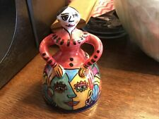 Spanish Girl Bell Talavera Pottery Figural Made in Spain Colorful Double Faced