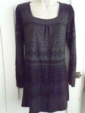 Ladies size 8 George black grey floral winter top dress long sleeves