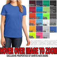 Womens Plain Basic Crew Neck T-Shirt Ladies Cotton Feminine Fit Top XS S M L XL