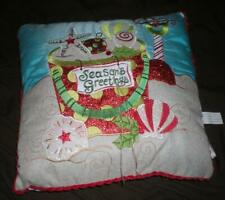 "TROPICAL ""SEASON'S GREETINGS"" ELEGANT BEACHY COASTAL CHRISTMAS PILLOW"