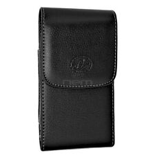 Black Vertical Leather Case w/ Belt Clip Side Pouch Holster 5.2 x 2.8 x 0.5 inch