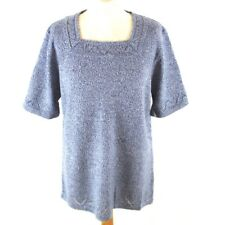 Womens Jumper 14 Blue White Mix Short Sleeve Square Neck Pattern Detail Casual