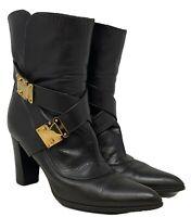Authentic LOUIS VUITTON Logo Short Boots #37 US 6.5 Dark Brown Leather Rank AB