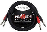 "6ft Dual 1/4"" TS Mono Male to Male Plug Noise Free Pig-Hog Audio Cable A6-A606PH"