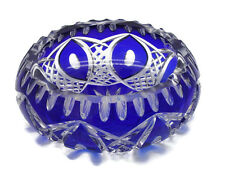 Vintage Czech Bohemian Cobalt Cut to Clear Glass Crystal Ashtray Large Heavy 6""
