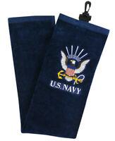 New HotZGolf U.S. Military 100% Cotton TriFold Golf Towel U.S. Navy w Bag Clip