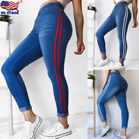 Women Pencil Stretch Pants Casual Denim Skinny Jeans High Waist Slim Trousers US