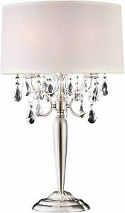 Fine Crystal Decorative 3 way Silver Table Lamp,  29.5