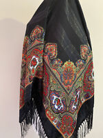 Authentic Russian Pavlovo Posad style Wool Shawl With Tassels Black truffle!
