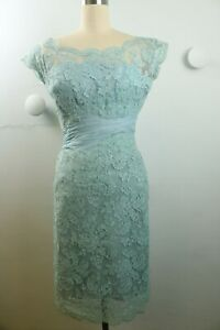 Vintage 50s Aqua Blue Lace and Silk Crepe Wiggle Dress Cocktail Party XS/S