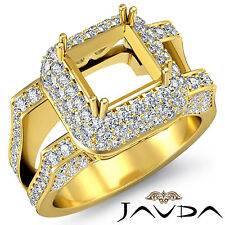 Pave Diamond Engagement Filigree Ring 1.75Ct 18k Yellow Gold Princess Semi Mount