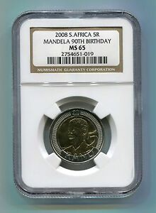 Ngc 2008 R5 Nelson Mandela 90th Birthday Ms 65 Certified Coin Madiba History