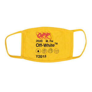 NWT OFF WHITE c/o VIRGIL ABLOH Yellow Cotton Logo Print Face Mask $95