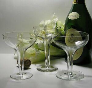 FuNkY Mix of 3 Vintage HOLLOW STEM CHAMPAGNE GLASSES * Antique ART DECO & ReTrO
