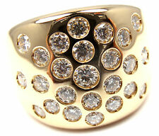 Rare! Authentic Hermes 18k Yellow Gold Diamond Ring Size 53 US 6 1/4