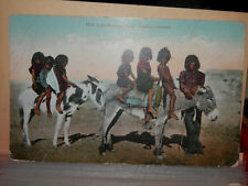 Pueblo Indian Children on Burros - Early Postcard - Native American