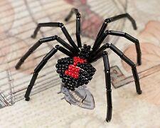 Black Widow Beaded Spider Pin