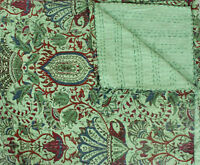 Kantha Quilt Indian Vintage Throw Handmade Queen Bedspreads