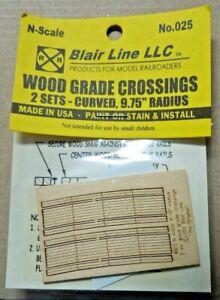 """Blair Line N Scale Wooden Grade Crossings 9.75"""" Radius"""