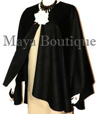 Cape Ruana Wrap Coat Black Cashmere Wool Blend USA Made Maya Matazaro