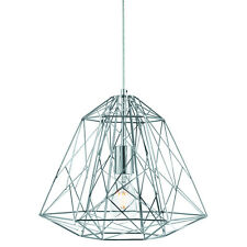 Chrome Geometric Cage Frame Shade Ceiling Pendant Light Fitting Home Lighting