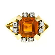 Vintage 14K Gold GIA Fine Quality Vivid Orange Step Cut Citrine & Diamond Ring