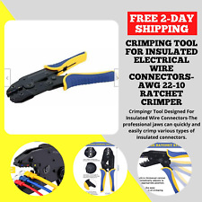 Crimping Tool For Insulated Electrical Wire Connectors Awg 22 10 Ratchet Crimper
