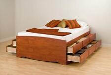 Prepac Queen 12 drawer Tall Platform Storage Bed in Cherry CBQ-6212-K New