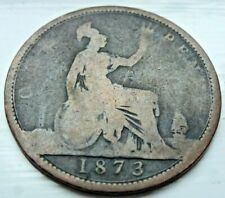 1873 Queen Victoria One Penny Coin - Great Britain (DC21)