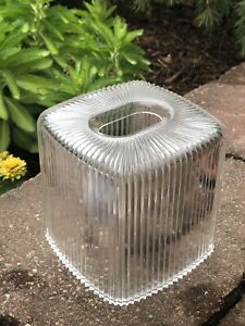 Vintage CLEAR Acrylic LUCITE Kleenex TISSUE BOX Ribbed Mid-Century Retro