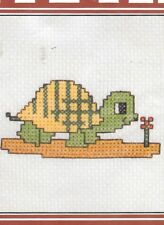 """NOS Vintage 1980s Lily Counted Cross Stitch Kit Turtle Unused Finished 5"""" x 7"""""""