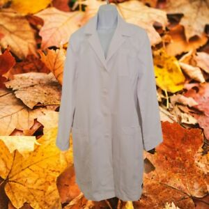 "ICU Barco 34"" 5 Pocket Princess Seam White Lab Coat Scrub Jacket Junior Fit Med"