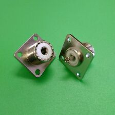 (2 PCS) UHF Female SO-239 RF 4-Hole Solder Panel Type connector - USA Seller