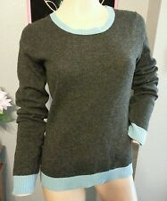 Cullen Charcoal Gray Blue 100% Cashmere Crewneck Sweater S
