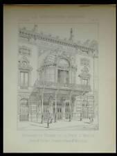 PARIS, THEATRE PORTE SAINT MARTIN - 1892 - PLANCHE ARCHITECTURE, SCHMIT MICHELIN