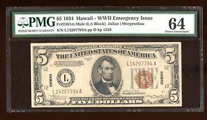 DBR 1934 $5 FRN Hawaii Mule Fr. 2301m PMG 64 Serial L14207794A