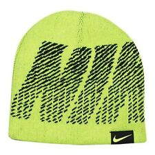 huge discount b9ff3 1c525 Nike Reversible Jacquard Beanie Hat Volt Black Youth SZ 8-20 NWT